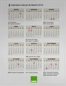 Calendario laboral 2018 de la Comunidad de Madrid